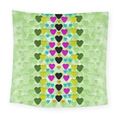 Summer Time In Lovely Hearts Square Tapestry (large) by pepitasart