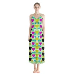 Summer Time In Lovely Hearts Button Up Chiffon Maxi Dress by pepitasart