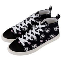 Panda Pattern Men s Mid Top Canvas Sneakers by Valentinaart