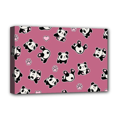 Panda Pattern Deluxe Canvas 18  X 12   by Valentinaart