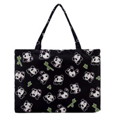 Panda Pattern Zipper Medium Tote Bag by Valentinaart