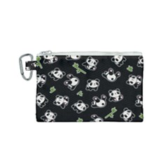Panda Pattern Canvas Cosmetic Bag (small) by Valentinaart