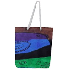 Purple Whale Full Print Rope Handle Tote (large) by snowwhitegirl