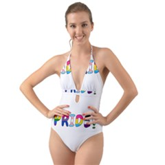 Pride Halter Cut Out One Piece Swimsuit