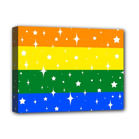 Sparkly Rainbow Flag Deluxe Canvas 16  X 12   by Valentinaart