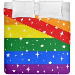 Sparkly Rainbow Flag Duvet Cover Double Side (king Size)