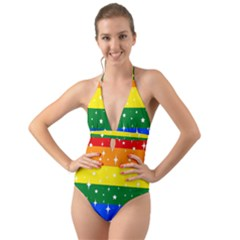Sparkly Rainbow Flag Halter Cut Out One Piece Swimsuit