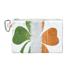 Irish Clover Canvas Cosmetic Bag (medium) by Valentinaart