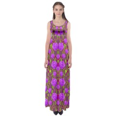 Roses Dancing On A Tulip Field Of Festive Colors Empire Waist Maxi Dress