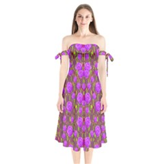 Roses Dancing On A Tulip Field Of Festive Colors Shoulder Tie Bardot Midi Dress
