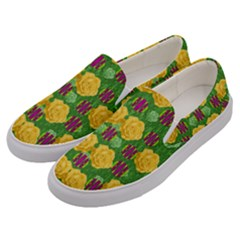 Roses Dancing On  Tulip Fields Forever Men s Canvas Slip Ons by pepitasart