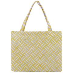 Woven2 White Marble & Yellow Watercolor Mini Tote Bag by trendistuff
