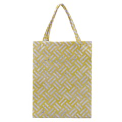 Woven2 White Marble & Yellow Watercolor Classic Tote Bag by trendistuff