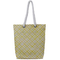 Woven2 White Marble & Yellow Watercolor Full Print Rope Handle Tote (small) by trendistuff