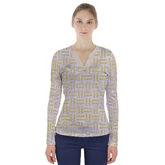 Woven1 White Marble & Yellow Watercolor (r) V Neck Long Sleeve Top