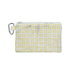 Woven1 White Marble & Yellow Watercolor (r) Canvas Cosmetic Bag (small) by trendistuff