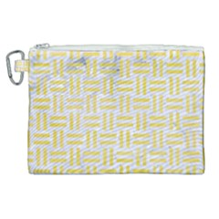 Woven1 White Marble & Yellow Watercolor (r) Canvas Cosmetic Bag (xl) by trendistuff