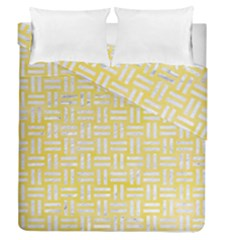 Woven1 White Marble & Yellow Watercolor Duvet Cover Double Side (queen Size) by trendistuff