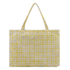 Woven1 White Marble & Yellow Watercolor Medium Tote Bag by trendistuff