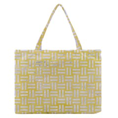 Woven1 White Marble & Yellow Watercolor Zipper Medium Tote Bag by trendistuff