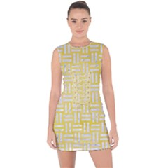 Woven1 White Marble & Yellow Watercolor Lace Up Front Bodycon Dress