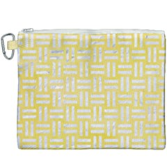 Woven1 White Marble & Yellow Watercolor Canvas Cosmetic Bag (xxxl) by trendistuff