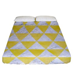 Triangle3 White Marble & Yellow Watercolor Fitted Sheet (california King Size) by trendistuff