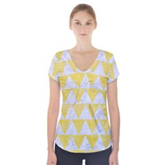 Triangle2 White Marble & Yellow Watercolor Short Sleeve Front Detail Top