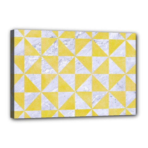 Triangle1 White Marble & Yellow Watercolor Canvas 18  X 12  by trendistuff