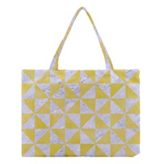 Triangle1 White Marble & Yellow Watercolor Medium Tote Bag by trendistuff