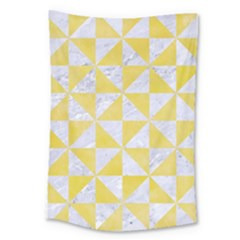 Triangle1 White Marble & Yellow Watercolor Large Tapestry by trendistuff
