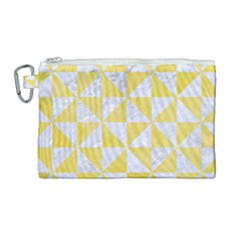 Triangle1 White Marble & Yellow Watercolor Canvas Cosmetic Bag (large) by trendistuff