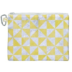 Triangle1 White Marble & Yellow Watercolor Canvas Cosmetic Bag (xxl)