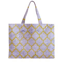 Tile1 White Marble & Yellow Watercolor (r) Zipper Mini Tote Bag
