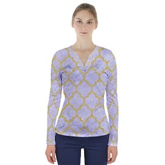Tile1 White Marble & Yellow Watercolor (r) V Neck Long Sleeve Top