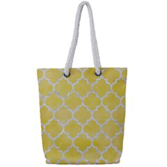 Tile1 White Marble & Yellow Watercolortile1 White Marble & Yellow Watercolor Full Print Rope Handle Tote (small)