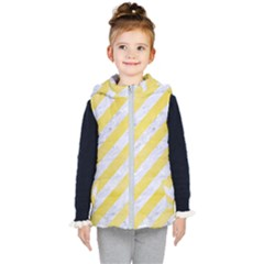 Stripes3 White Marble & Yellow Watercolor (r) Kid s Puffer Vest