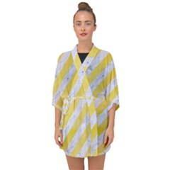 Stripes3 White Marble & Yellow Watercolor (r) Half Sleeve Chiffon Kimono