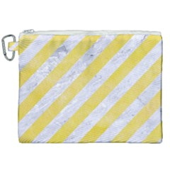 Stripes3 White Marble & Yellow Watercolor (r) Canvas Cosmetic Bag (xxl) by trendistuff