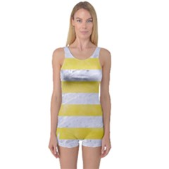 Stripes2white Marble & Yellow Watercolor One Piece Boyleg Swimsuit