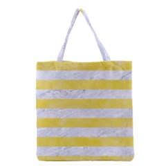 Stripes2white Marble & Yellow Watercolor Grocery Tote Bag by trendistuff