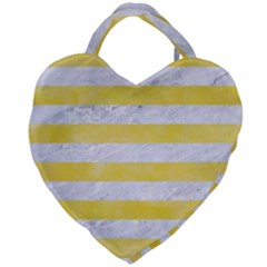 Stripes2white Marble & Yellow Watercolor Giant Heart Shaped Tote by trendistuff