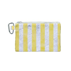 Stripes1 White Marble & Yellow Watercolor Canvas Cosmetic Bag (small) by trendistuff