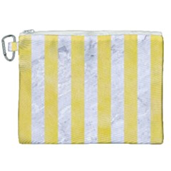 Stripes1 White Marble & Yellow Watercolor Canvas Cosmetic Bag (xxl) by trendistuff