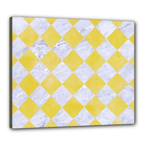 Square2 White Marble & Yellow Watercolor Canvas 24  X 20  by trendistuff