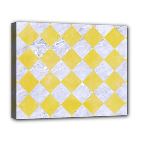 Square2 White Marble & Yellow Watercolor Deluxe Canvas 20  X 16   by trendistuff