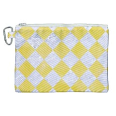 Square2 White Marble & Yellow Watercolor Canvas Cosmetic Bag (xl) by trendistuff