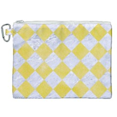 Square2 White Marble & Yellow Watercolor Canvas Cosmetic Bag (xxl) by trendistuff
