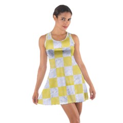 Square1 White Marble & Yellow Watercolor Cotton Racerback Dress