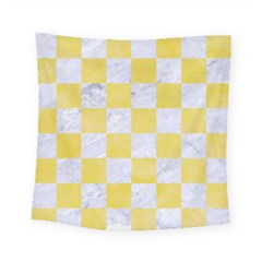Square1 White Marble & Yellow Watercolor Square Tapestry (small) by trendistuff